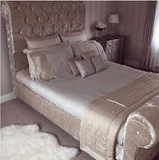 Velvet Sleigh Bed Crown Bespoke Upholstered Sleigh Bed