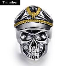 antique skull rings images Online shop antique silver color punk officer dictator male skull jpg
