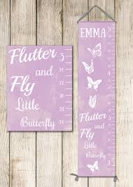 butterfly growth chart in lavender or pink growth chart