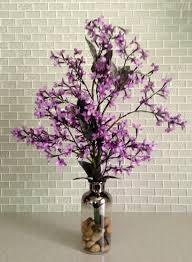artificial purple lilac in glass bottle vase home decor silk