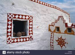 painted walls of house in khudi village jaisalmer rajasthan india