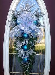 wreath winter wreath vertical teardrop door swag