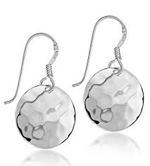 earrings uk tuscany silver sterling silver hammered drop earrings