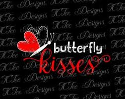 butterfly kisses s day svg design vector