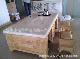 functional automatic wood kung fu tea table wood color natural