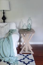 farmhouse end table shades of blue interiors