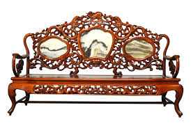 chinese rosewood marble dali carved sofa bench chairish