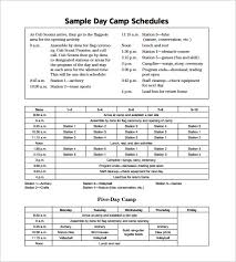 camp schedule templates u2013 15 free word excel pdf formt download