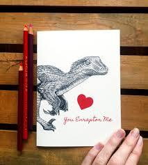 geeky valentines cards dinosaur card velociraptor nerdy