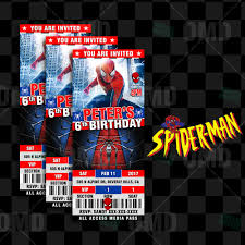spiderman ticket style birthday invites u2013 cartoon invites