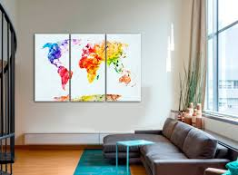 World Map Canvas Large Watercolor World Map Canvas Poster At Texelprintart Com