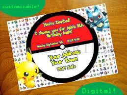 pokemon birthday invitation templates invitations ideas