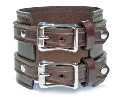 buckle leather bracelet images 2 1 4 quot brown leather wristband with silver buckles lucky dog leather jpg