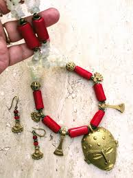 ethnic necklace images African mask long tribal necklace red white gold ethnic necklace JPG