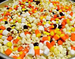 chocolate vanilla drizzled fall popcorn mix miss