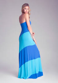 bebe colorblock strapless maxi dress petites in blue lyst