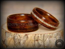 bentwood rings set rosewood glass inlay handcrafted wood wedding