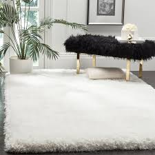 Area Rugs 9 X 12 Safavieh Luxe Shag Hand Tufted Ivory Polyester Area Rug 9 U0027 X 12