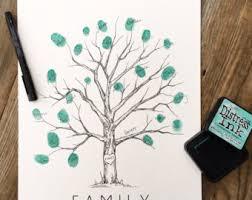 fingerprint tree family tree w ink pad pen thumbprint tree kit