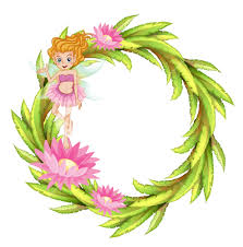 illustration of a round border design with a fairy on a white