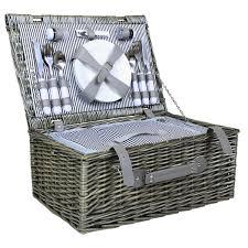 picnic basket set for 4 grey wicker picnic basket 2 or 4 person set buydirect4u