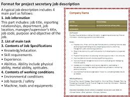 Legal Secretary Job Description For Resume by Project Secretary Job Description