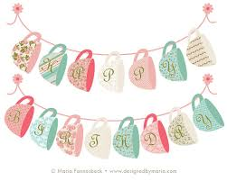 Shabby Chic Banner by Tea Party Happy Birthday Banner Printable Decoration Shabby