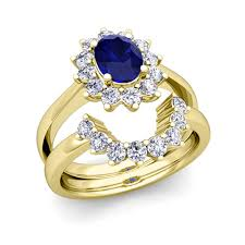 yellow gold bridal sets diamond and sapphire diana engagement ring bridal set 14k gold 8x6mm