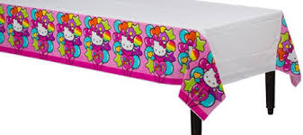 themed table cloth rainbow hello table cover 54in x 96in party city