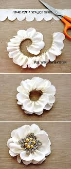 ribbon with wire diy scalloped edge flowers so cool cut the wire one side of