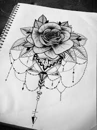 floral rose mandala geometric tattoo design illustration animal