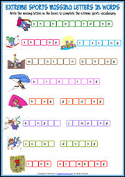 printable missing letters quiz extreme sports esl printable worksheets and exercises