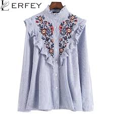 floral blouse lerfey embroidery floral blouse shirt ruffles office