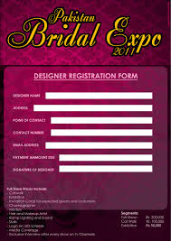 bridal registration pakistan bridal expo designer registration form events pakistan