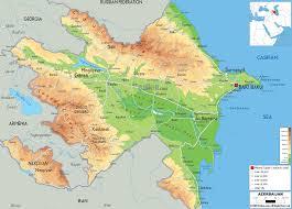 Physical Map Europe by Azerbaijan Map