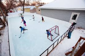 hockey at home fargo dad builds backyard rink for 6 year old son