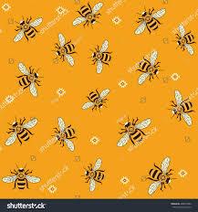 seamless vector pattern honey bees bee stock vector 498079402