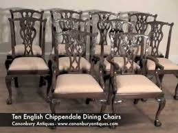 Chippendale Dining Room Set Set English Chippendale Mahogany Dining Chairs Youtube