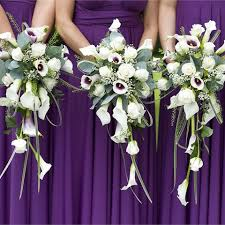 Purple Wedding Bouquets Bridal Bouquets Of Red Burgundy And Deep Purple Wedding Flowers