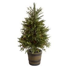 4 u0027 pre lit artificial porch tree in whiskey barrel christmas