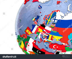 Europe Flag Map by Political Map Europe Each Country Represented Stock Illustration