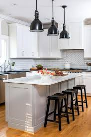 Kitchen Industrial Lighting Kitchen With Black Industrial Lighting And White Quartz Countertops
