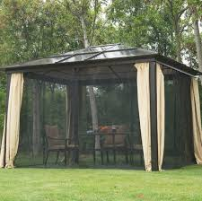 outdoors metal gazebo with metal roof with outdoor wicker