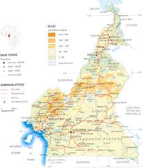 map of cameroon general physical map of cameroon