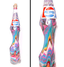 Rainbow Home Decor by Vintage Pepsi Bottle Stretched Sand Art Pop Art Home Decor Glass