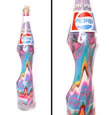 vintage pepsi bottle stretched sand art pop art home decor glass
