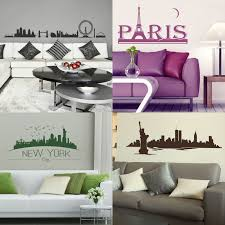 wall decals stickers home decor home furniture diy city skyline wall stickers cityscape vinyl transfers giant interior art decal