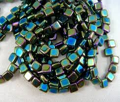 czech beads 6mm square bead black peacock prismatic rainbow ab