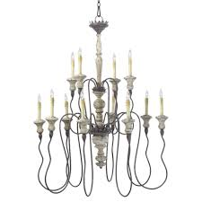 12 Light Chandeliers Provence Country White And Grey Wash 12 Light Chandelier
