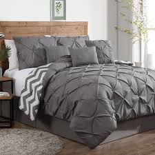 unique grey comforter and solid wooden bed frame for contemporary